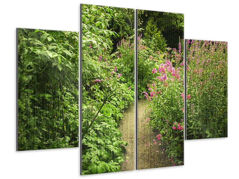 Metallic-Bild 4-teilig Gartenweg