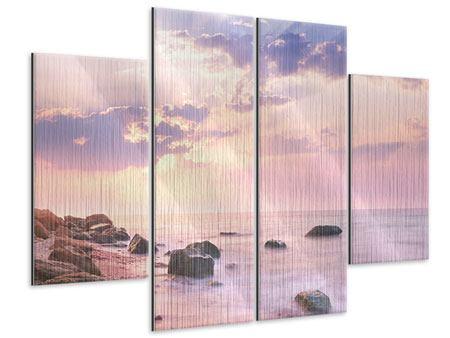 Metallic-Bild 4-teilig Sonnenaufgang am Meer