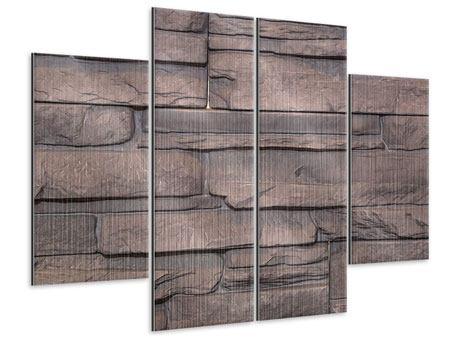 Metallic-Bild 4-teilig Luxusmauer