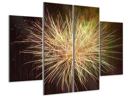 Metallic-Bild 4-teilig Feuerwerk XXL