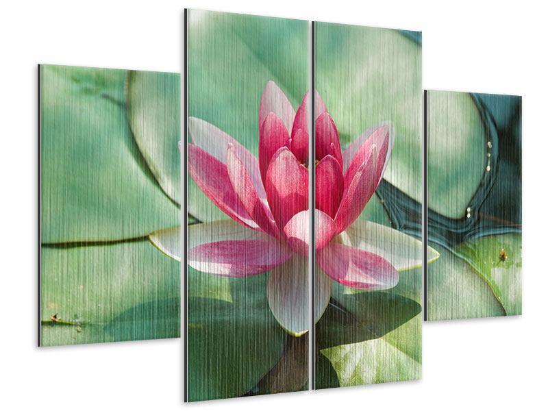 Metallic-Bild 4-teilig Der Frosch und das Lotusblatt