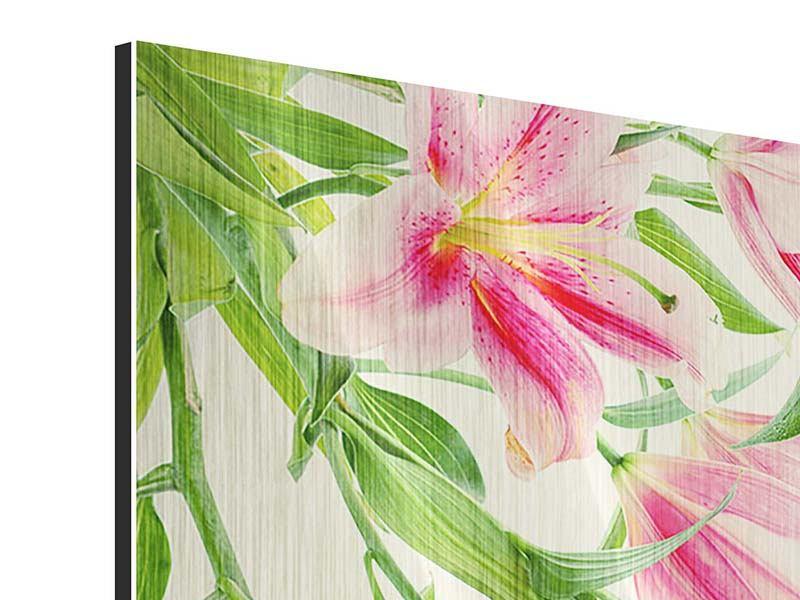 Metallic-Bild 4-teilig Lilien am Wasser