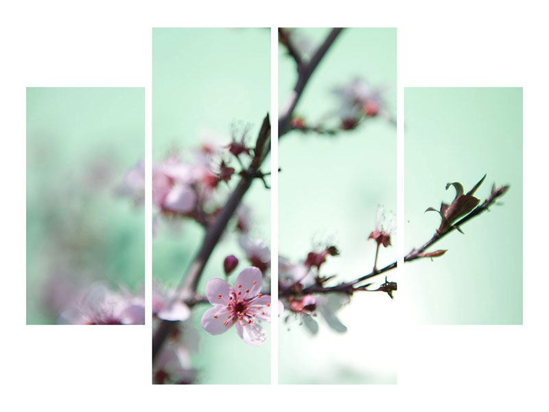 Metallic-Bild 4-teilig Die japanische Kirschblüte