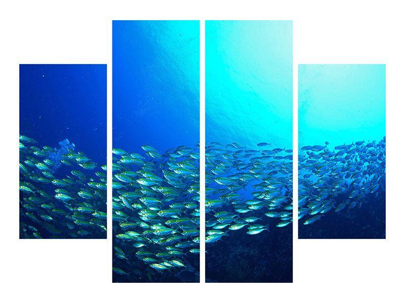Metallic-Bild 4-teilig Fischschwarm