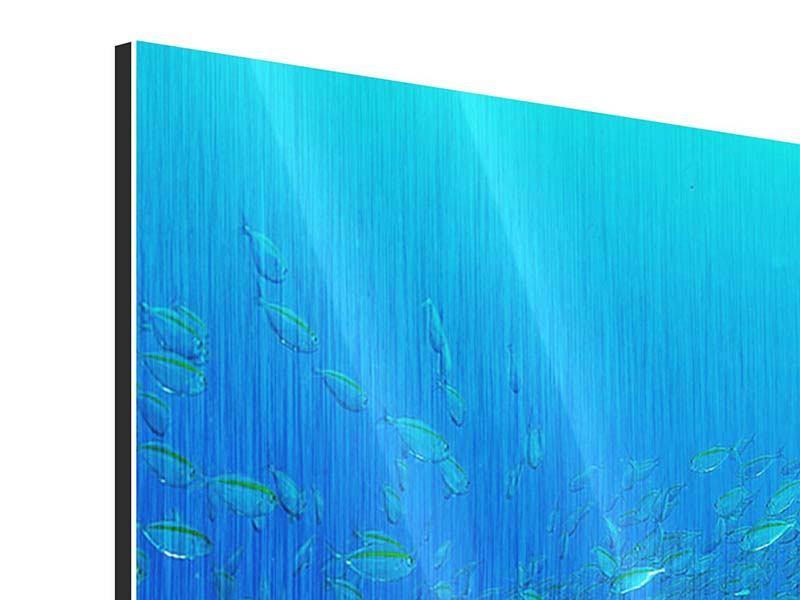 Metallic-Bild 4-teilig Fischschwärme
