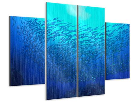 Metallic-Bild 4-teilig Fischwelt