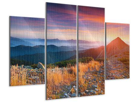 Metallic-Bild 4-teilig Sonnenuntergang in den Alpen