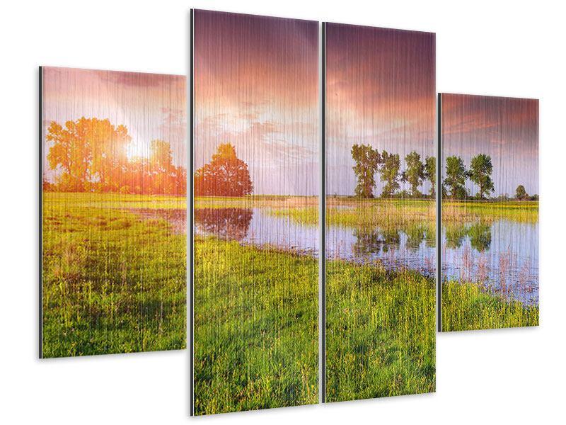 Metallic-Bild 4-teilig Sonnenuntergang am See