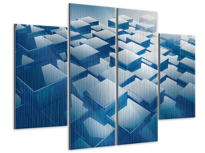 Metallic-Bild 4-teilig 3D-Cubes
