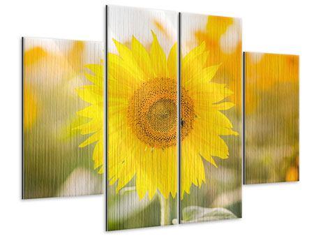 Metallic-Bild 4-teilig Sunflower