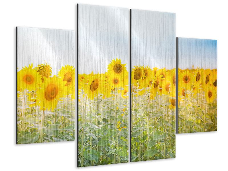 Metallic-Bild 4-teilig Im Sonnenblumenfeld