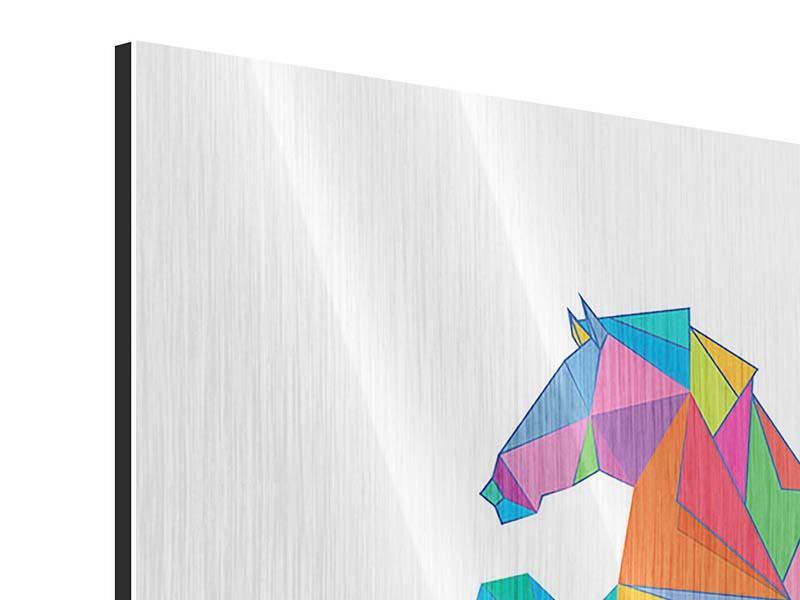 Metallic-Bild 4-teilig Origami Pferd