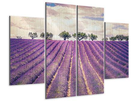 Metallic-Bild 4-teilig Das Lavendelfeld