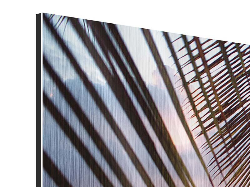 Metallic-Bild 4-teilig Unter Palmenblätter