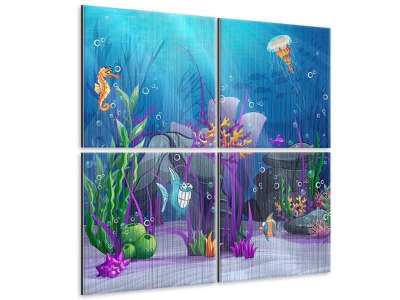 Metallic-Bild 4-teilig Unterwasserschatzsuche