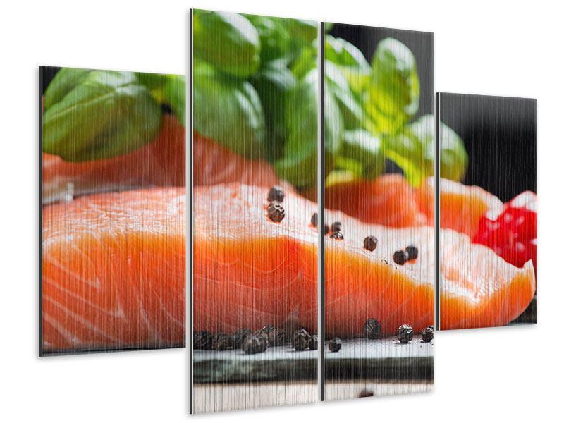 Metallic-Bild 4-teilig Frischer Fisch