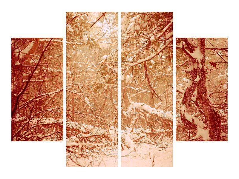 Metallic-Bild 4-teilig Schneewald