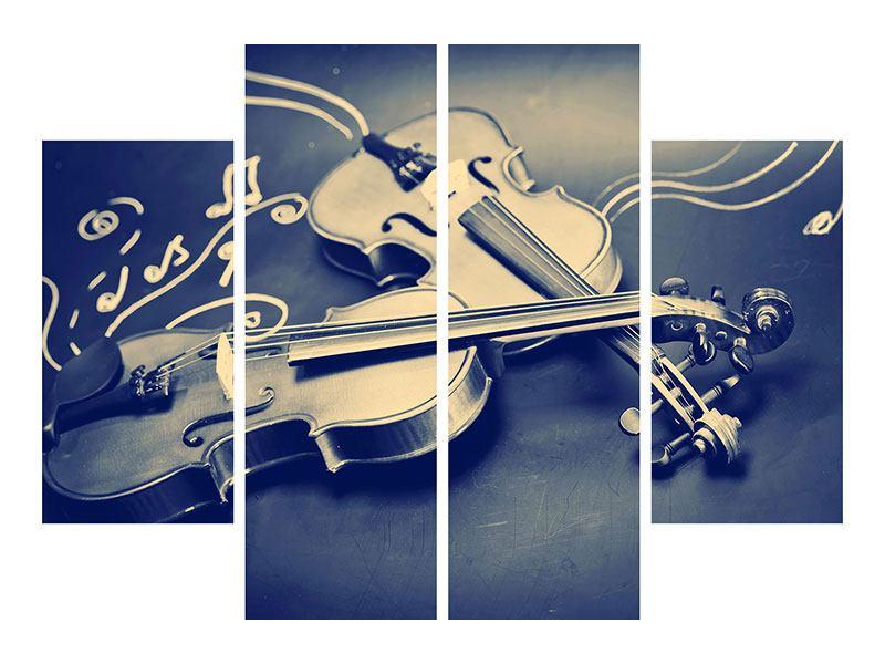 Metallic-Bild 4-teilig Geigen