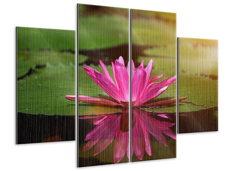 Metallic-Bild 4-teilig Lotus im Wasser