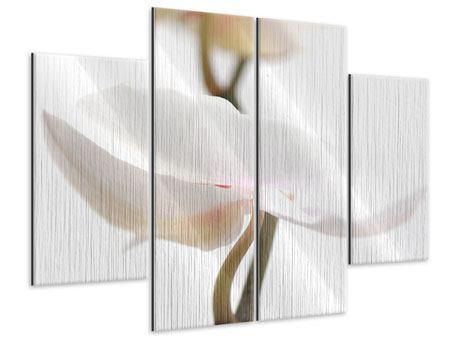 Metallic-Bild 4-teilig XXL Orchideenblüte