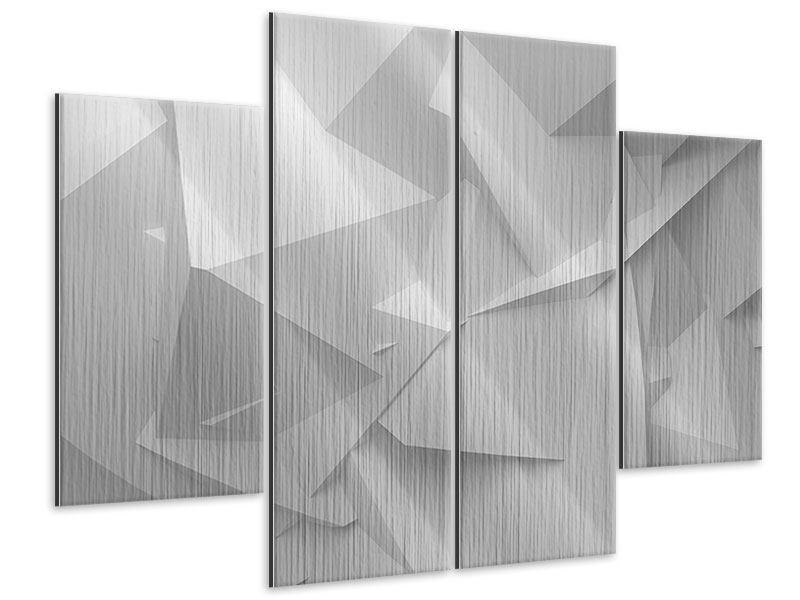 Metallic-Bild 4-teilig 3D-Raster