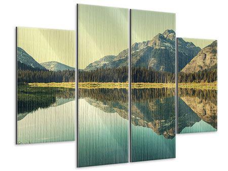 Metallic-Bild 4-teilig Der Bergsee