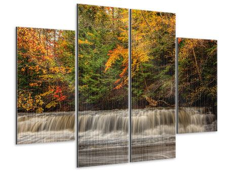 Metallic-Bild 4-teilig Herbst beim Wasserfall