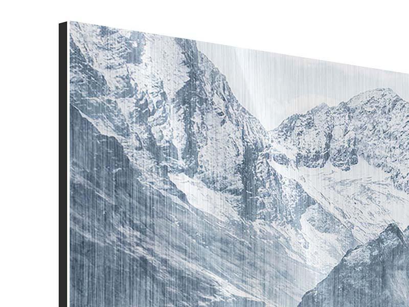 Metallic-Bild 4-teilig Gigantische Berggipfel