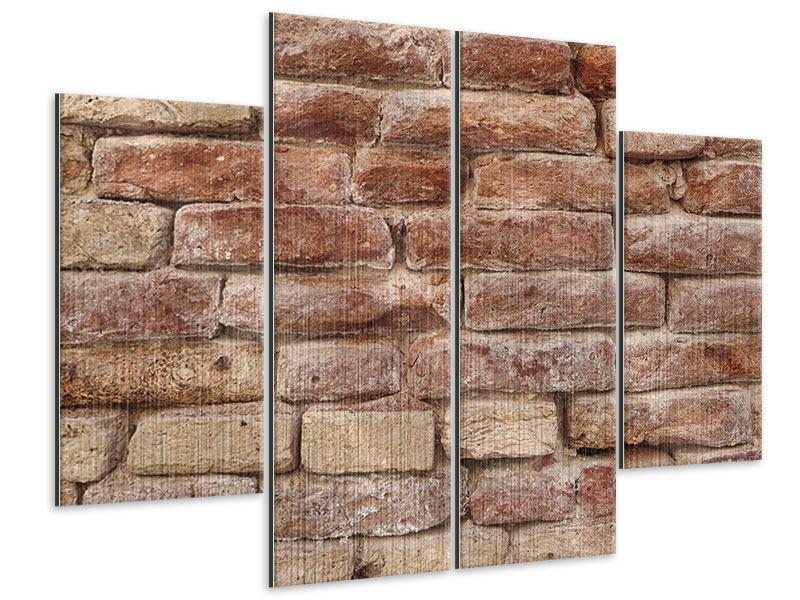 Metallic-Bild 4-teilig Loft-Mauer
