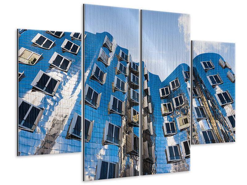 Metallic-Bild 4-teilig Neuer Zollhof