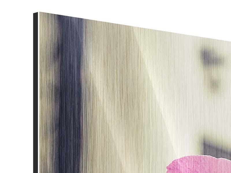 Metallic-Bild 4-teilig Ein Fensterplatz für die Orchideen
