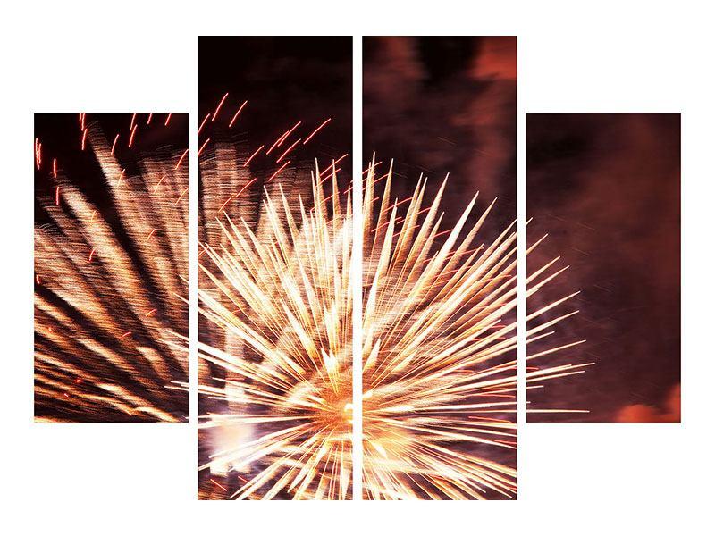 Metallic-Bild 4-teilig Close Up Feuerwerk