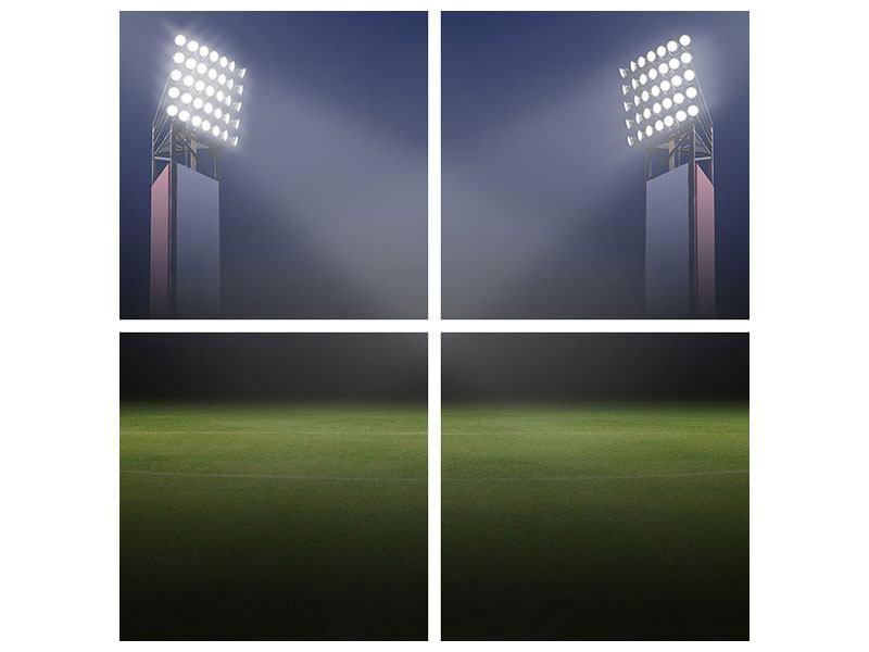 Metallic-Bild 4-teilig Fussballstadion