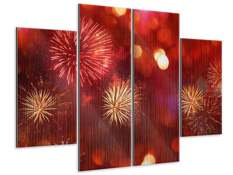 Metallic-Bild 4-teilig Buntes Feuerwerk
