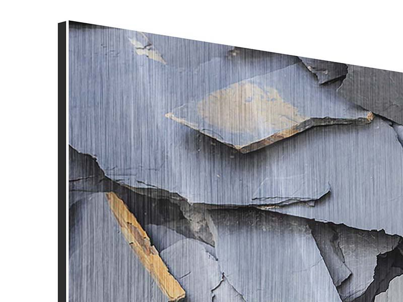 Metallic-Bild 4-teilig Schieferplatten