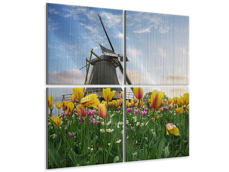 Metallic-Bild 4-teilig Die Windmühle mit den Tulpen