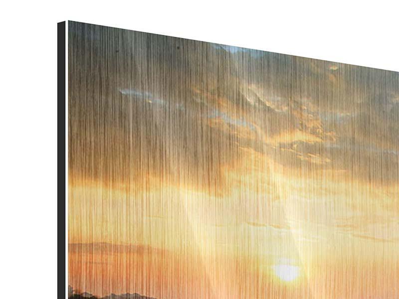 Metallic-Bild 4-teilig Sonnenblumenfeld im Abendrot