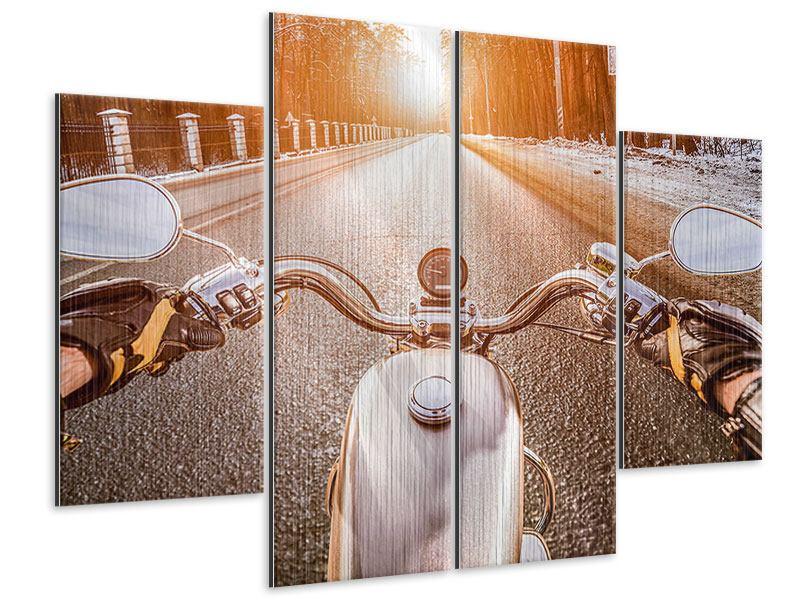 Metallic-Bild 4-teilig Auf dem Motorrad