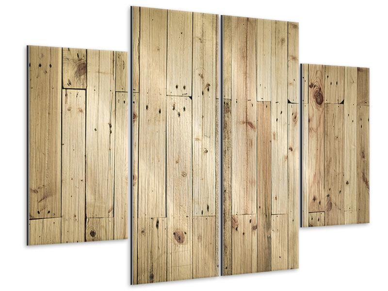 Metallic-Bild 4-teilig Holzpaneelen