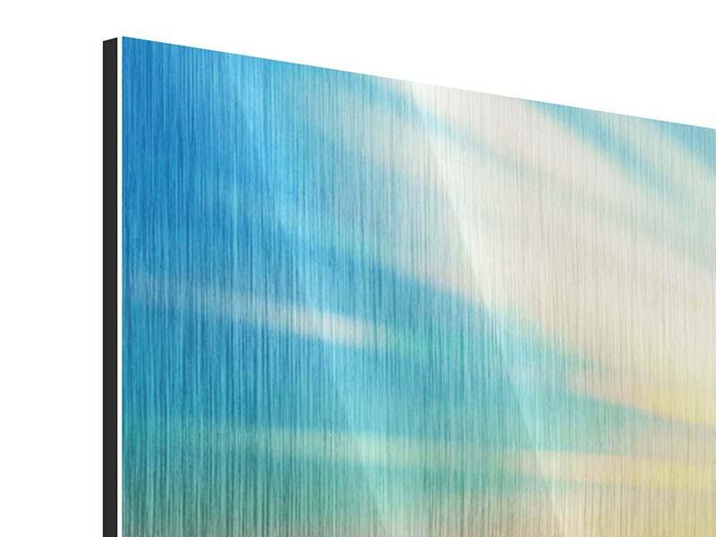 Metallic-Bild 4-teilig Sonnenuntergang über den Wolken