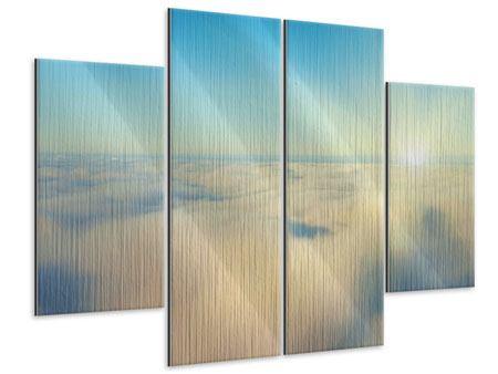 Metallic-Bild 4-teilig Dämmerung über den Wolken
