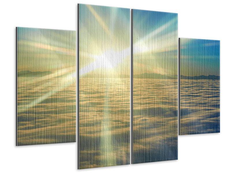 Metallic-Bild 4-teilig Sonnenaufgang über den Wolken