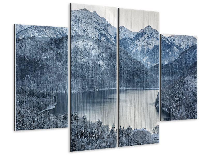 Metallic-Bild 4-teilig Schwarzweissfotografie Berge