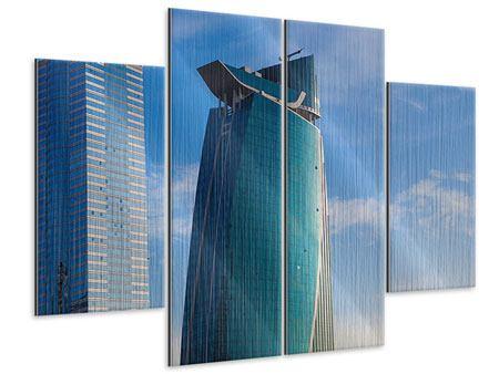 Metallic-Bild 4-teilig Zwei Wolkenkratzer