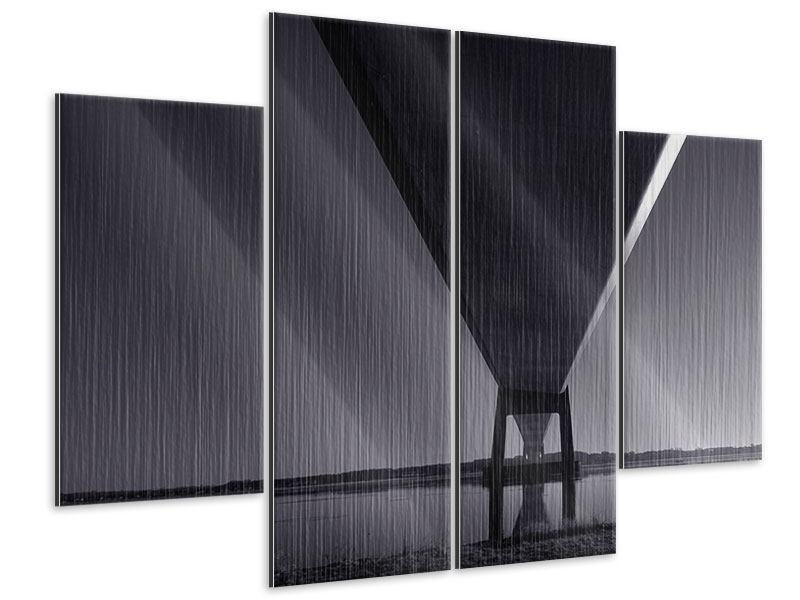 Metallic-Bild 4-teilig Die Brücke über tiefes Wasser