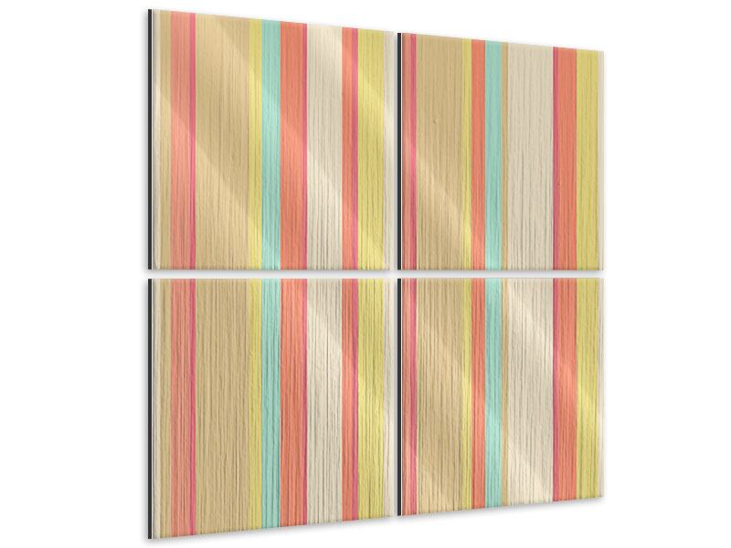 Metallic-Bild 4-teilig Pastell Streifen