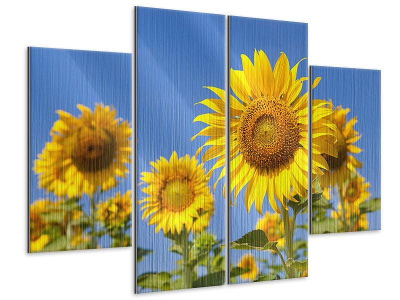 Metallic-Bild 4-teilig Himmlische Sonnenblumen