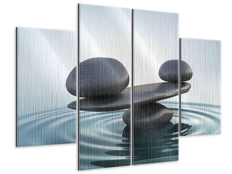 Metallic-Bild 4-teilig Steinbalance