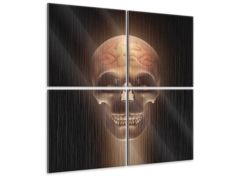 Metallic-Bild 4-teilig Schädel
