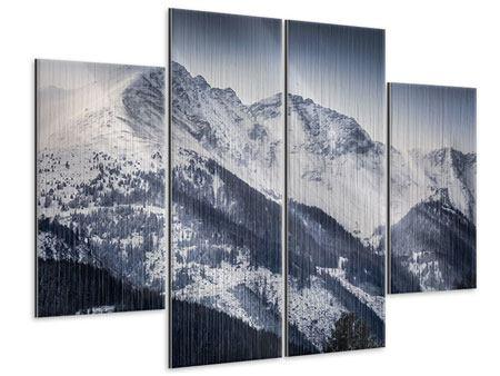 Metallic-Bild 4-teilig Die Berge der Schweiz